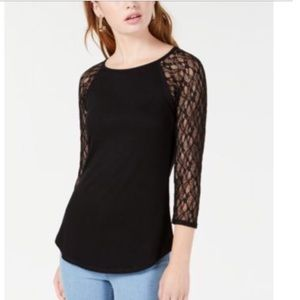 Crave Fame Juniors Lace Sleeves Black Top Large
